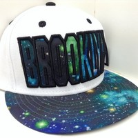 White Galaxy Print Brooklyn Snapback Hat Cap