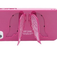 Angel Wings Stand Hard Case Cover for Iphone 4 and 4S - Violet Pink