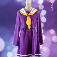Anime NO GAME NO LIFE Shiro School Uniforms Cosplay Costume Dress Clothes