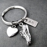 LOVE TO RUN XC Key Chain - Heart, Running Shoe Charm and Nickel Silver XC Pendant on Round Stainless Steel Key Ring