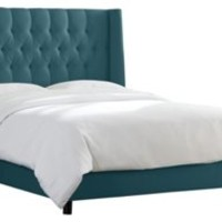 Alexander Tufted Wingback Bed, Teal, Wing Beds