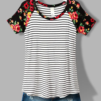 Stripes and Floral Top - Ivory and Black