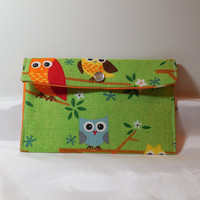 Fun, Bright Owl Fabric Pouch