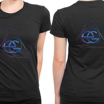 DCCKL83 Ellie Goulding Space Classic Logo 2 Sided Womens T Shirt