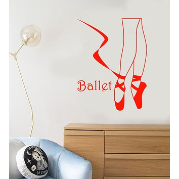 Vinyl Wall Decal Ballet Dance Studio Logo Ballerina Pointe Shoes Stickers (3392ig)