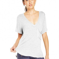 Deep V-neck T-shirt With Pocket In Grey