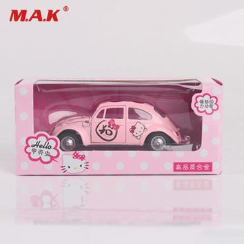 Collectible Children's Car Model Toys 1:32 Diecast Car PINK Hello Kitty Beetle Classic Car Pull Back Toys with Box for Boys Girl