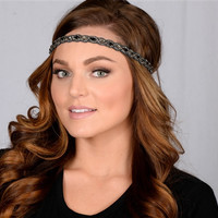Pink Pewter Jeweled Stretch Headband GINNY Slate -Wedding Prom Hair Accessory