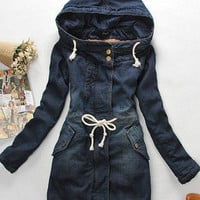 New Women's Autumn / Winter Korean Slim and Long Sections Thick Warm Cotton Denim Coat Fashion Was Thin Denim Jackets
