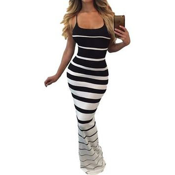 [15540] Striped Spaghetti Strap Slinky Maxi Dress