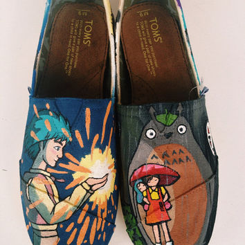 Miyazaki howls moving castle& spirited away handpainted Tom Shoes