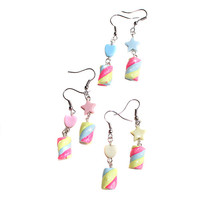 Pastel Kawaii Miniature MarshMallow Twist Dangle Heart/ Star Earrings