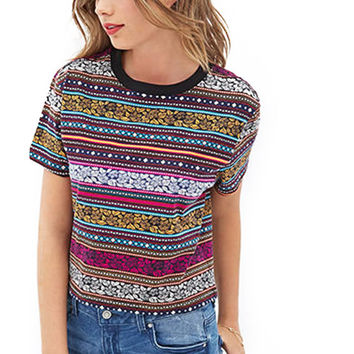 Multi Color Geometric Stripe Print Round Neck T-shirt