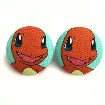 Handmade Charmander pokemon fabric button earrings