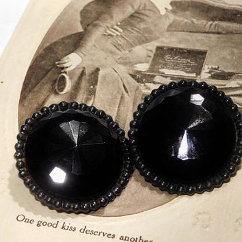 Vintage French JET Black Glass Earrings Clip On Mid Century 1950s 50s Button Style Earrings Black Faceted Glass Earrings Formal Evening