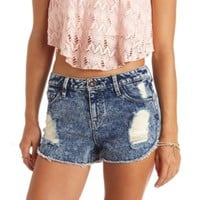 Acid Wash Cut-Off High-Waisted Denim Shorts