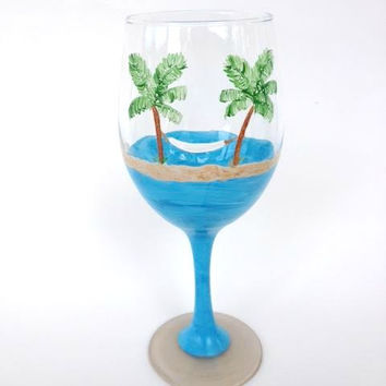 Beach Hammock Palm Tree Hand painted wine glass