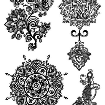 LS618 21*15cm Big Tattoo Sticker Sexy Hanna Female Black Lace Bride Temporary Flash Tattoo Stickers Body Art Flowers Tatoo