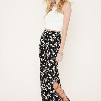 Side-Slit Floral Maxi Skirt
