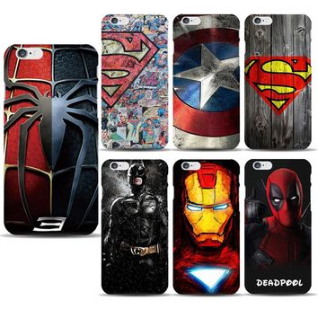 Superhero Collection Deadpool Spiderman Phone Case for capinhas iphone 8 7 6s Plus 5SE Ironman Batman Marvel Covers Accessories