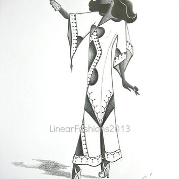 Hippie fashion illustration / 1970s caftan dashiki / original pencil drawing / bohemian gypsy decor / art gift