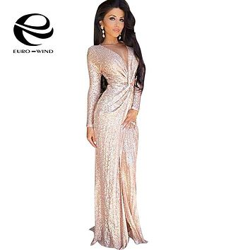 Women Spring Dress V Neck Long Sleeve Maxi Sequin Dress Front Split Gold Dress Party Dresses Zipper Long Gown