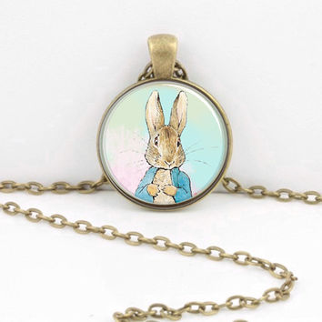 ON SALE Bunny Peter Rabbit Beatrix Potter Classic Children's Story Glass Pendant Necklace or Key Ring