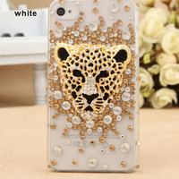 bling iPhone case decor diamond 3D leopard - iphone 4.4s and iphone 5 case available for choose
