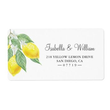 Modern Boho Lemon Branch Summer Wedding Address Label