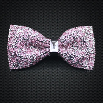 Fashion Men's Pink Crystal luxurious Adjustable Neck wear For Party Business Wedding Groom