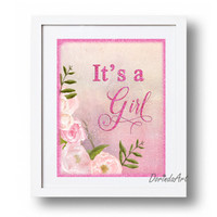 It's a girl printable sign Girl announcement Gender reveal Party sign Watercolor Floral baby shower sign DOWNLOAD 5x7 8x10 11x14 16x20