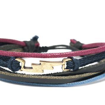 Lightning Bolt Rope and Leather Adjustable Unisex Charm Bracelet