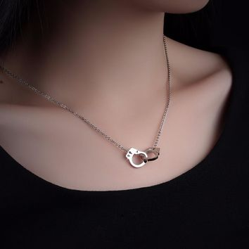 Necklace Pendant Silver Rose Gold Color Stainless Steel Handcuff Crystal Jewelry