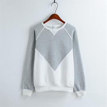 O-Neck Sport Sweatshirts For Women Fashion Patchwork Women Pullovers Girls Casual Wear Long Sleeve Women Tops One Size Clothes = 1945776452