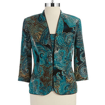 Alex Evenings Two Piece Paisley Cardigan and Shell Set