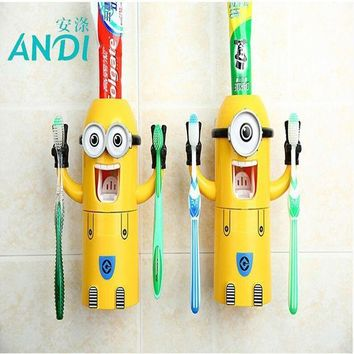 PEAPGB2 ANDI 2016 Products Cute Minions Design Set Cartoon yellow doll Toothbrush Holder Automatic Toothpaste Dispenser toothpaste