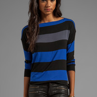 Bailey 44 Thumb Typing Striped Long Sleeve Top in Blue/Black/Grey from REVOLVEclothing.com