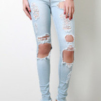 Women's Pale Worn Skinny Jeans