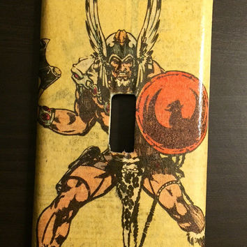 Artimorean-Made Vintage 80s DC Comics' The Warlord Decoupaged Wall Plate - Art by Mike Grell!