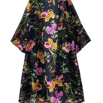 Summer Women's Fashion Floral Half-sleeve Chiffon Jacket [5013236292]