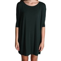 Dark Green Piko Tunic Half Sleeve Dress