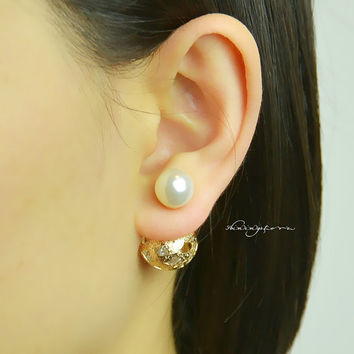 Ear Jacket - Front to back pearl hollowed-out ball earring jacket - Christmas Gift ,Gift for her,Christmas decor