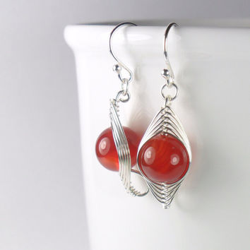 Red Carnelian Sterling Silver Herringbone Wire Wrapped Earring - Semi Precious Earring - Drop Earring - Simple Jewellery
