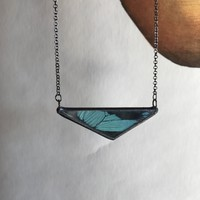 Teal Banded Swallowtail Triangle Necklace