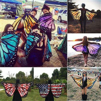 DCCK7N3 Colorful Soft Fabric  Wings Fairy Ladies Nymph Pixie Costume Accessory Womoen Beach Scarves Wraps