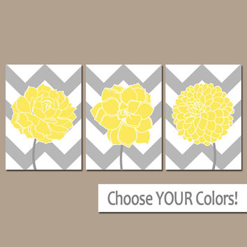 CHEVRON Flower Wall Art, CANVAS or Prints Yellow Gray Bathroom Artwork, Yellow Bedroom Pictures, Succulent Flower Dahlia Set of 3 Home Decor