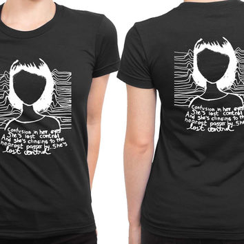 Joy Division Confusion In Her Eyes She Is Lost Control 2 Sided Womens T Shirt