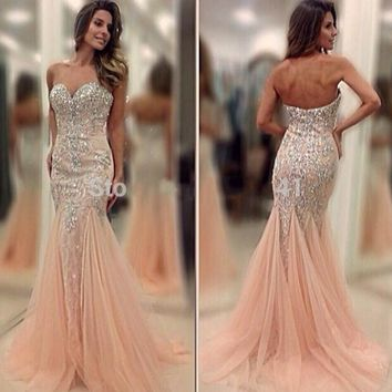 Luxury Crystal Long Sequin Mermaid Evening Dress Formal Rhinestone Evening Gowns robe de soiree abendkleider Custom Made