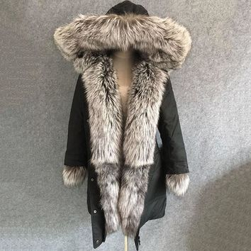 2017 new luxury black women winter coat with big hoody natural silver fox fur collar trim thick large size parkas middle long