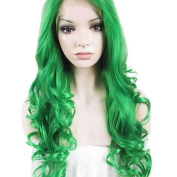 Green cosplay Wavy 26 inches Synthetic lace front wig